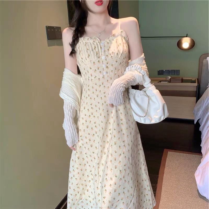 Áo khoác ngoài   Váy 2 dây hoa nhí ngọt ngào kèm ảnh tự chụp, video 💯 chất lượng
