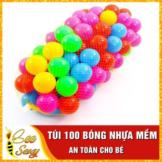 Túi 100 Bóng Nhựa Mềm Nhiều Màu Sinh Động Cho Bé