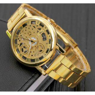 Đồng hồ dây kim loại vàng óng a trong suốt sang trọng thumbnail
