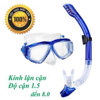 Mặt nạ lặn cận gồm ống thở độ cận 1.5 độ đến 8.0 độ kèm ống thở ngăn nước, mắt kính cường lực POPO Collection