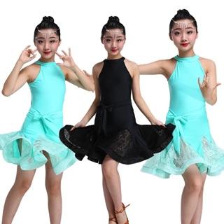 Đầm khiêu vũ trẻ em cổ yếm