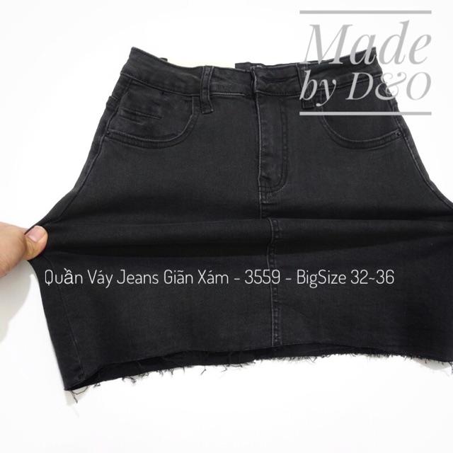[Size 32-36] Quần Váy Jean Xám Tua Trơn - Lưng Cao Qua Rốn, Có Quần Trong - Co Giãn Mạnh / Chân Váy Jeans