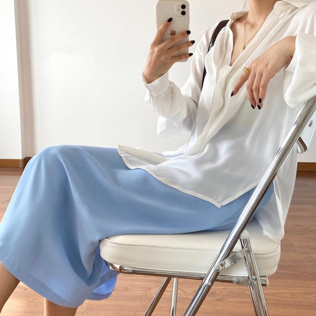 Chân Váy Dài Qua Gối Xẻ Sườn Phong Cách Ulzzang V30