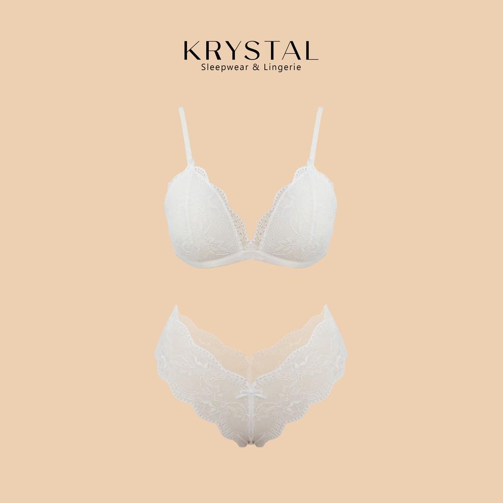 Bộ đồ lót ren không gọng màu trắng KRYSTAL SBA26-S/M/L/XL