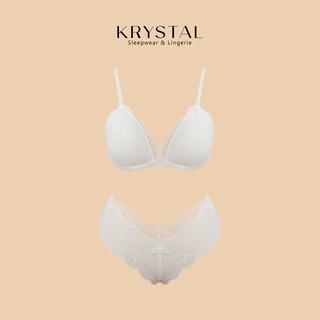 Bộ đồ lót ren không gọng mút mỏng màu trắng phối ren họa tiết KRYSTAL Bralette KSB03 thumbnail