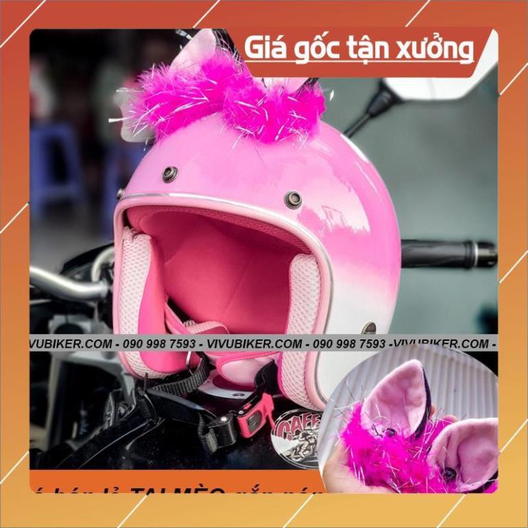 [Giống ảnh] Mũ bảo hiểm 3/4 hồng pha trắng gắn tai mèo FungFing Thái Lan cao cấp - Nón tai mèo màu hồng siêu cute