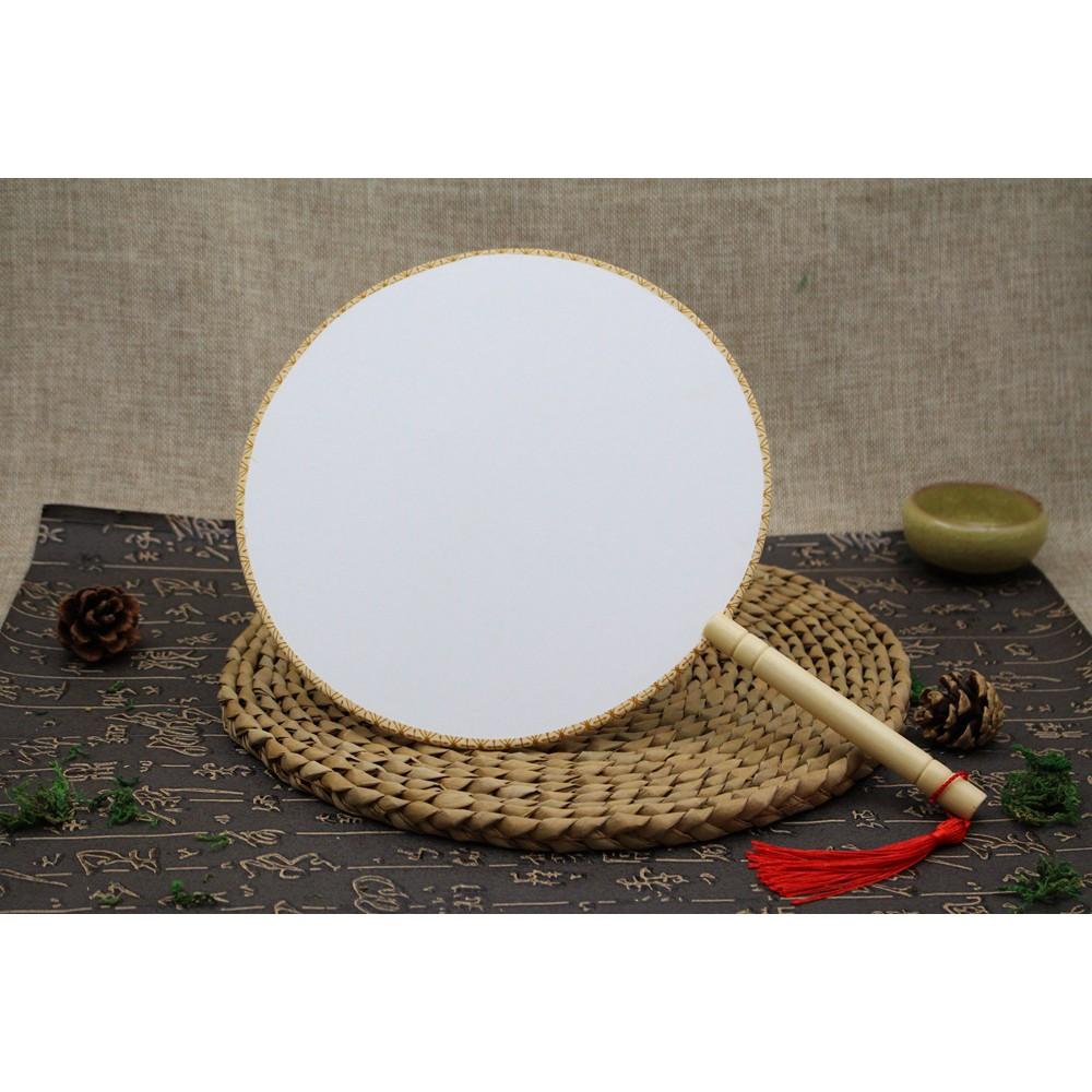 Quạt vải tròn trơn Cao Cấp ( vẽ, in, tô màu, thêu)
