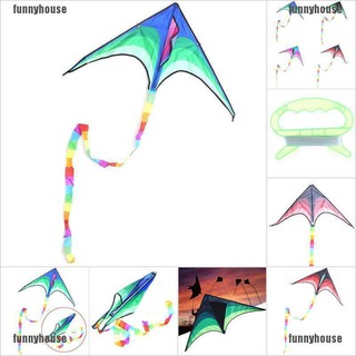 [funnyhouse]Large delta kite for kids and adults single line easy to fly kite handle include thro