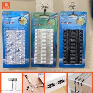 Nẹp dây điện dán tường 3M giúp kẹp cố định dây điện gọn gàng siêu dính (Vỉ 20 nút nẹp dây điện dán tường)