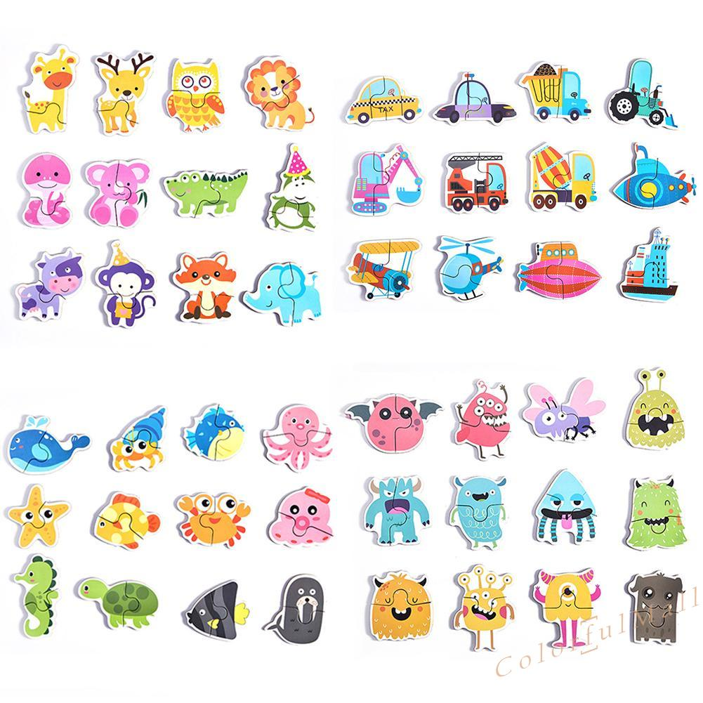 CO 12pcs Paper Jigsaw Puzzles Game Baby Cartoon Early Education for Kids Toys
