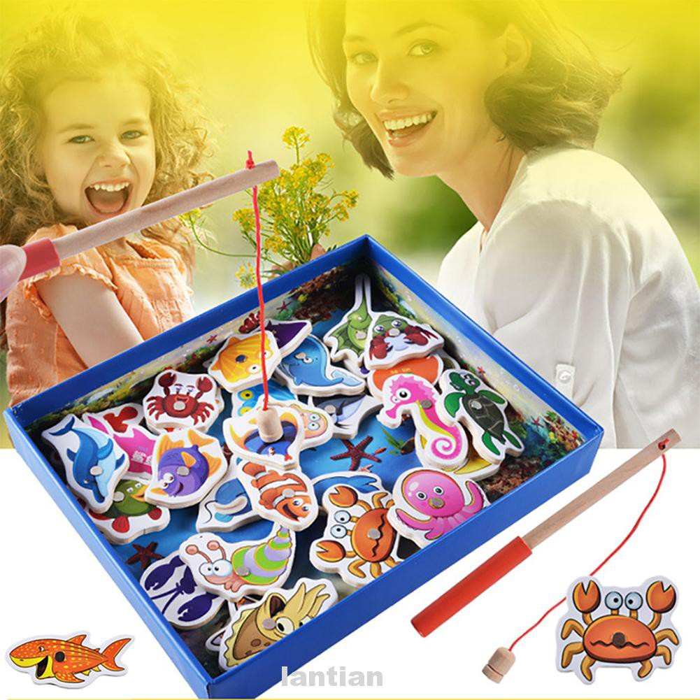 Toddler Magnetic For Kids Funny Gifts Wooden Non Toxic Rods Fishing Toy
