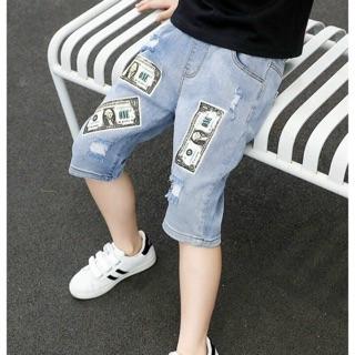 Quần Jean Lửng Cho Bé Trai Size Đại Lưng Thun In Hình ĐÔ LA Cào Rách Thời Trang