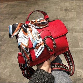 Túi xách nữ thời trang Jingdong kèm khăn nơ họa tiết khóa rồng - Túi xách nữ