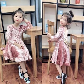 Váy nhung thắt nơ công chúa cho bé gái