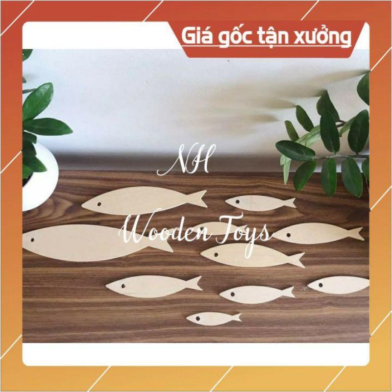 Combo 10 cá gỗ polywood 💥giá rẻ nhất thị trường🐬 tô vẽ, decor