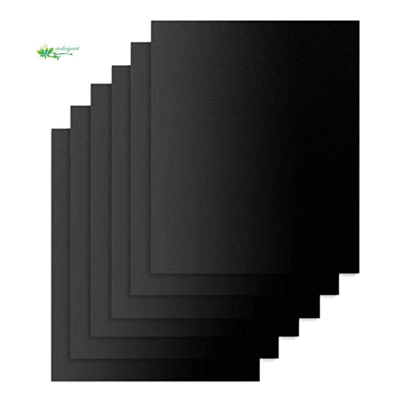 6 pcs BBQ Grill Mat Nonstick Reusable,15.75 X 13 Inch, Black