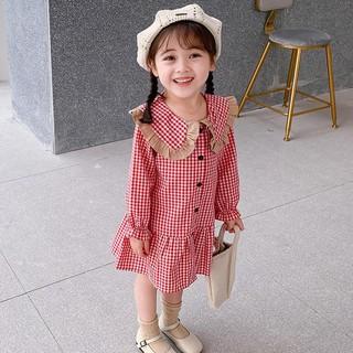 Váy caro đỏ phối cổ bèo tiểu thư - Hàng Quảng Châu Cao Cấp