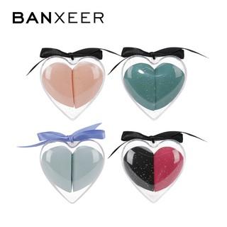 Hộp 2 mút trang điểm BANXEER mềm mịn hình trái tim