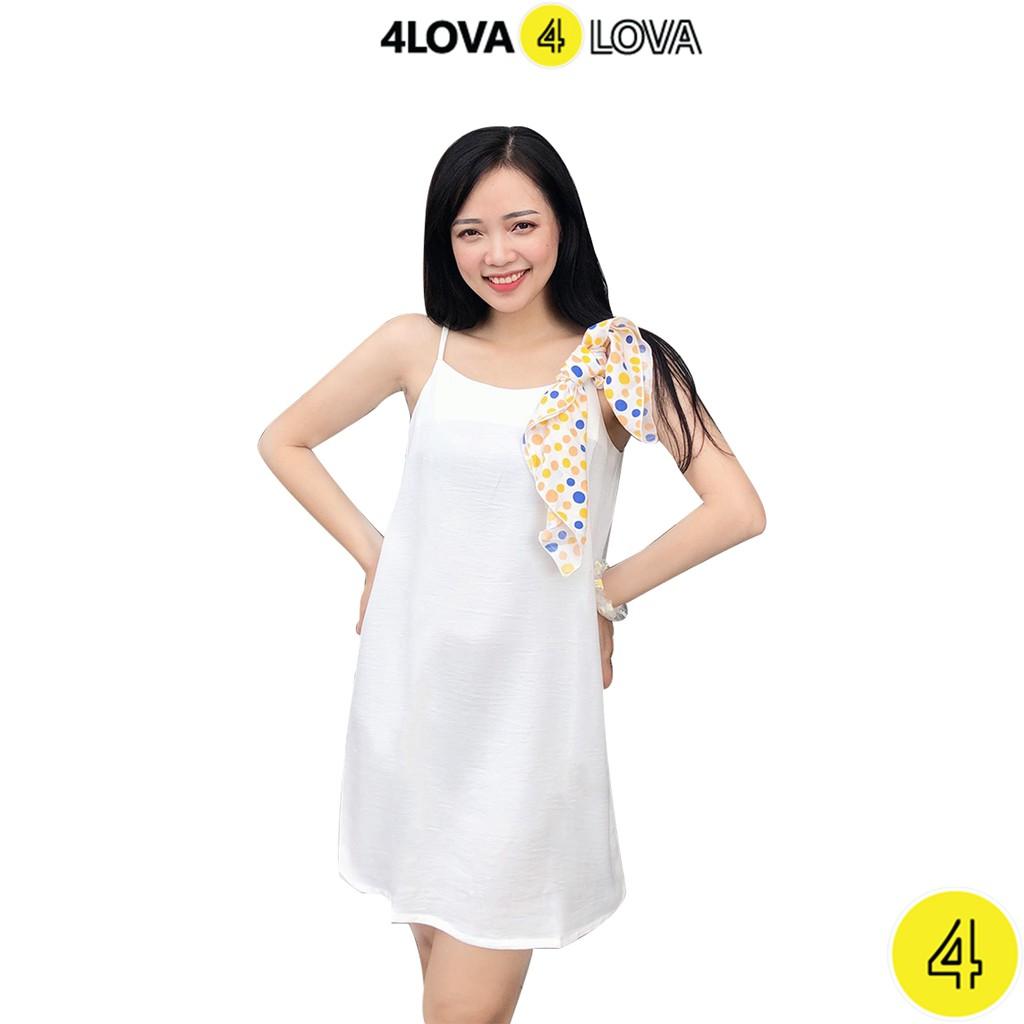 Váy 2 dây 4lova đầm suông chất đũi lụa trơn bazic nhiều màu