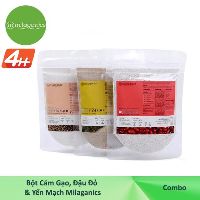Combo tẩy da chết Bột cám gạo 100g & Bột đậu đỏ 100g & Bột yến mạch Milaganics 100g