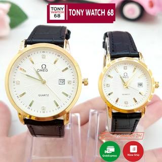 [Mã FASHIONRNK giảm 10K đơn 50K] Đồng hồ đôi nam nữ OMG dây da viền mạ vàng chống nước chính hãng Winsley thumbnail