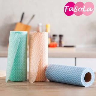 Set 5 cuộn Giấy lau bếp đa năng cuộn 50 tờ bằng vải không dệt, khăn giấy lau bếp tiện ích FASOLA