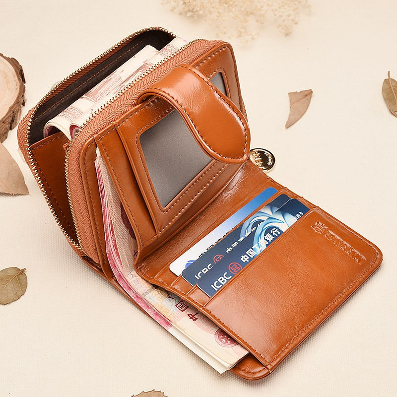 ■✿Europe and America brand new purse oil wax female paragraphs short wallet 2019 ms students twenty percent thin zero