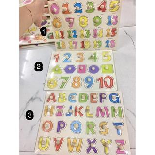 Bảng núm gỗ chữ cái và số