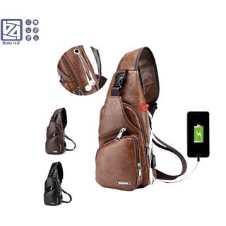 Túi đeo chéo da không nổ 4 ngăn chống nước có cổng USB BALO 4.0