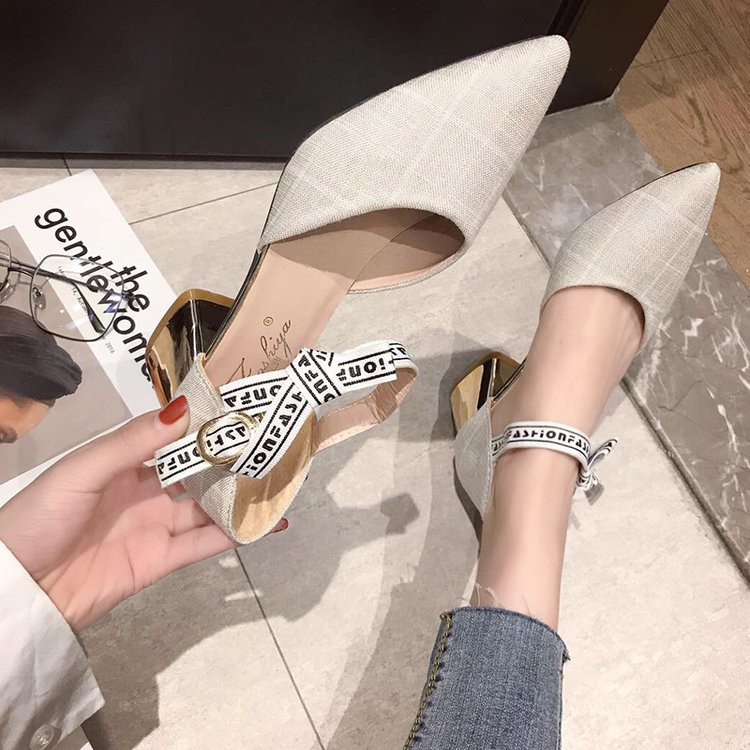 Single shoes women's shoes shallow mouth pointed thick with a word buckle wild students gentle high heels