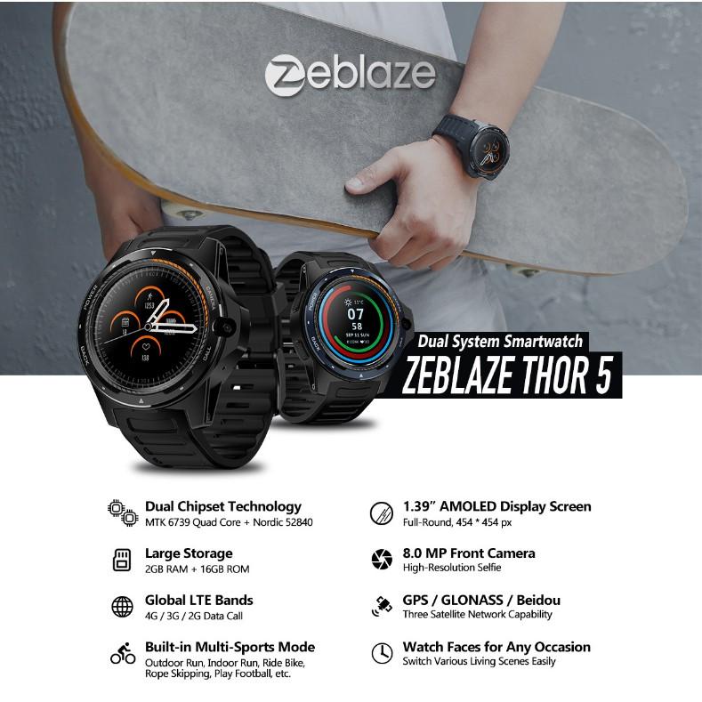 Zeblaze THOR 5 Dual Chipset 4G Đồng hồ thông minh quốc tế