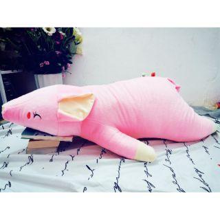 Thú nhồi bông, gấu bông chú heo lười màu hồng,kv 1m2 khổng lồ