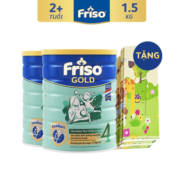 [Độc Quyền Shopee - Tặng Thảm Chơi Size Đại Cho Bé] Combo 2 Lon Sữa Bột Friso Gold 4 (1.5kg/Lon)