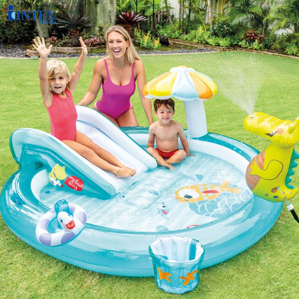 Bể bơi phao mini cho bé có cầu trượt INTEX 57165, hồ bơi bơm hơi hình cá sấu, Bảo hành 12 tháng