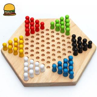 Children Early Education Wood Checkers Traditional Hexagon Chinese Checkers Family Game Set