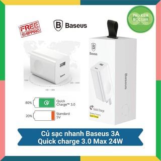 Cốc sạc nhanh Baseus QC 3.0, Củ công suất max 24W (Trắng) - Nhanh gấp 4 lần cho Iphone Ipad, Samsung... - BH 1 đổi 1