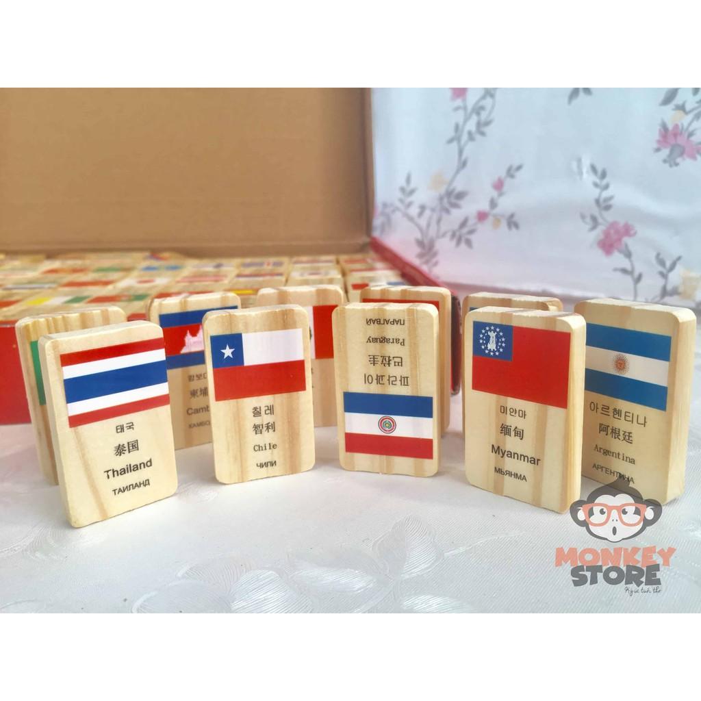 DOMINO 100 cờ quốc gia bằng gỗ cho bé
