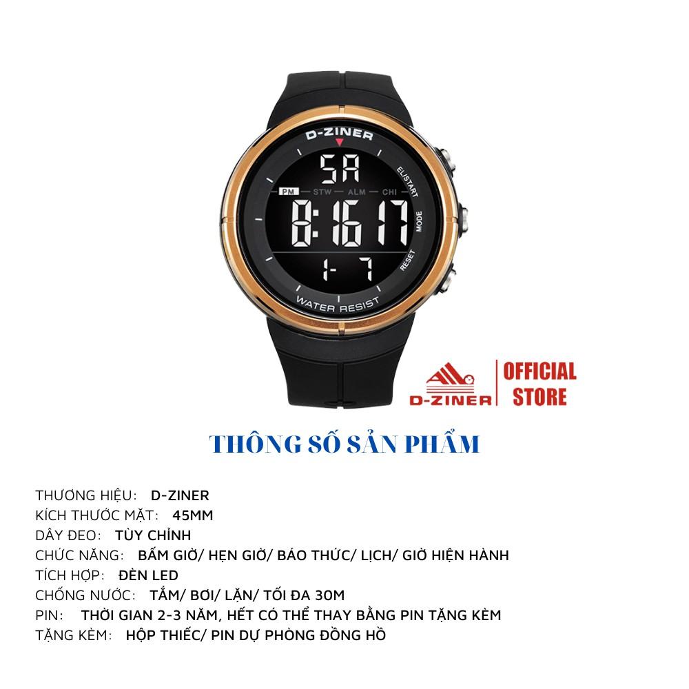 Đồng Hồ Điện Tử Thể Thao Nam D-ZINER 8163 Chống Nước 30M Full Box - LINDO