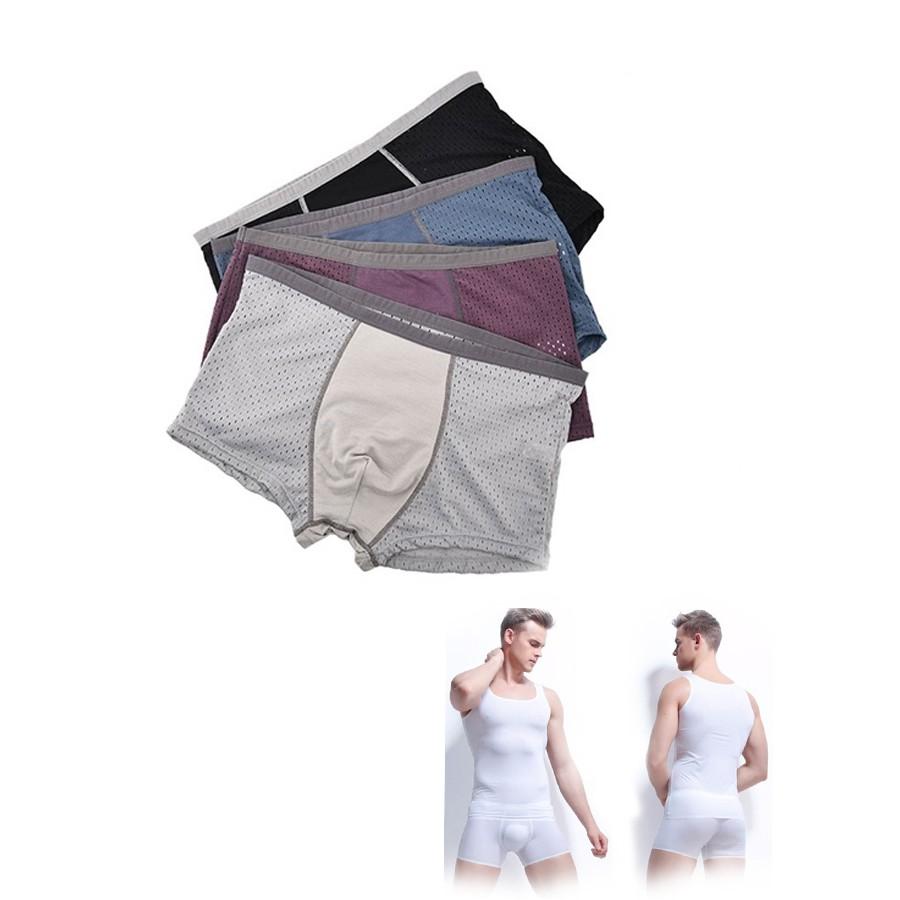 COMBO Hộp 4 chiếc quần sịp đùi nam thông hơi + 02 Áo lót nam kiểu ba lỗ trắng