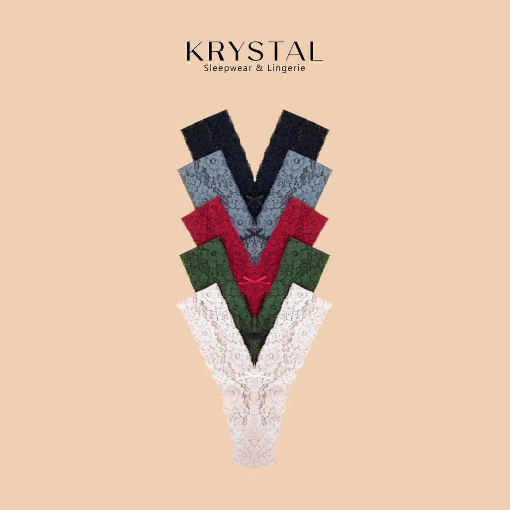 Combo 5 quần lót ren lọt khe chữ Y sexy gợi cảm màu trơn KRYSTAL KQYC5-01