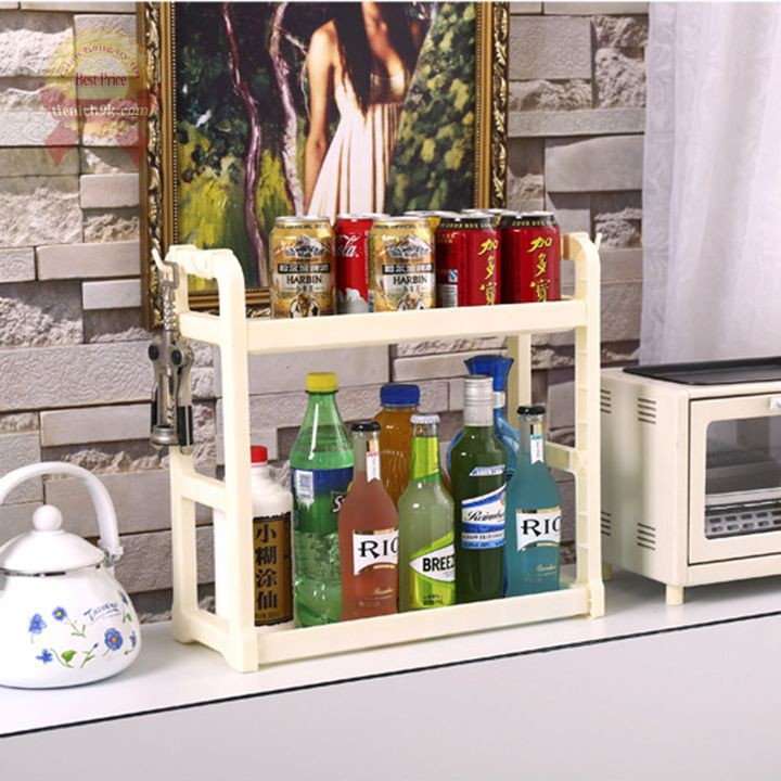 Kệ mini 2 tầng để gia vị đồ ăn nhà bếp , đựng dầu gội phòng tắm nhựa PP dày dặn an toàn – có móc treo đồ hai bên