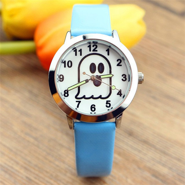 New children's cartoon ghost Halloween gift table Children's cute luminous pointer quartz watch