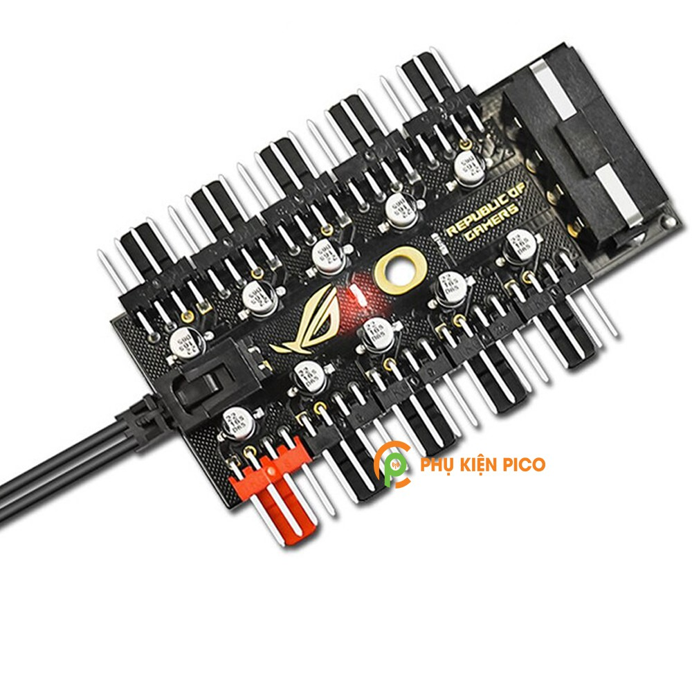 Bộ Hub 10 cổng chia Fan PWM 4 Pin hỗ trợ điều tốc, quạt tản nhiệt nguồn cấp điện cổng SATA, 10 tụ an toàn
