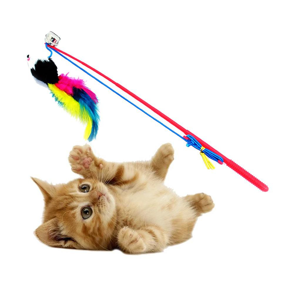 Cash on delivery Ready Cat Feather Mouse Stick Toy Funny Kitten Playing Rods Pet Interactive Toys Muswanna