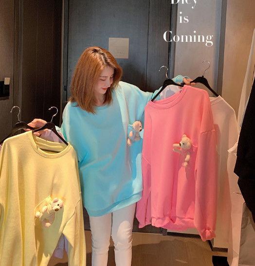 Áo Sweater Tay Dài In Hình Gấu Đáng Yêu Kiểu Hàn Quốc Cho Nữ