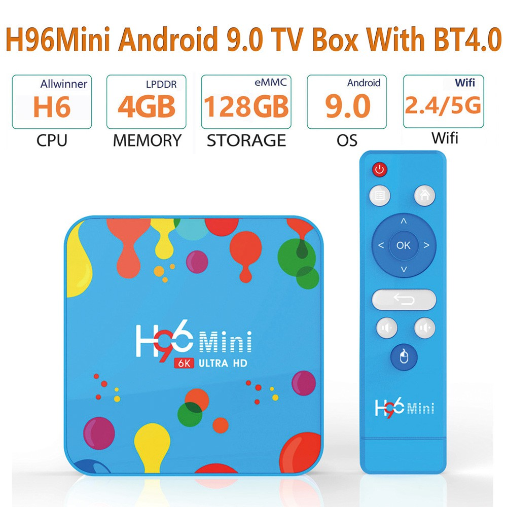 Hộp TV mini H96 4+128G 6K H6 wifi bluetooth 4.0 kèm bàn phím i8 cho Android 9.0