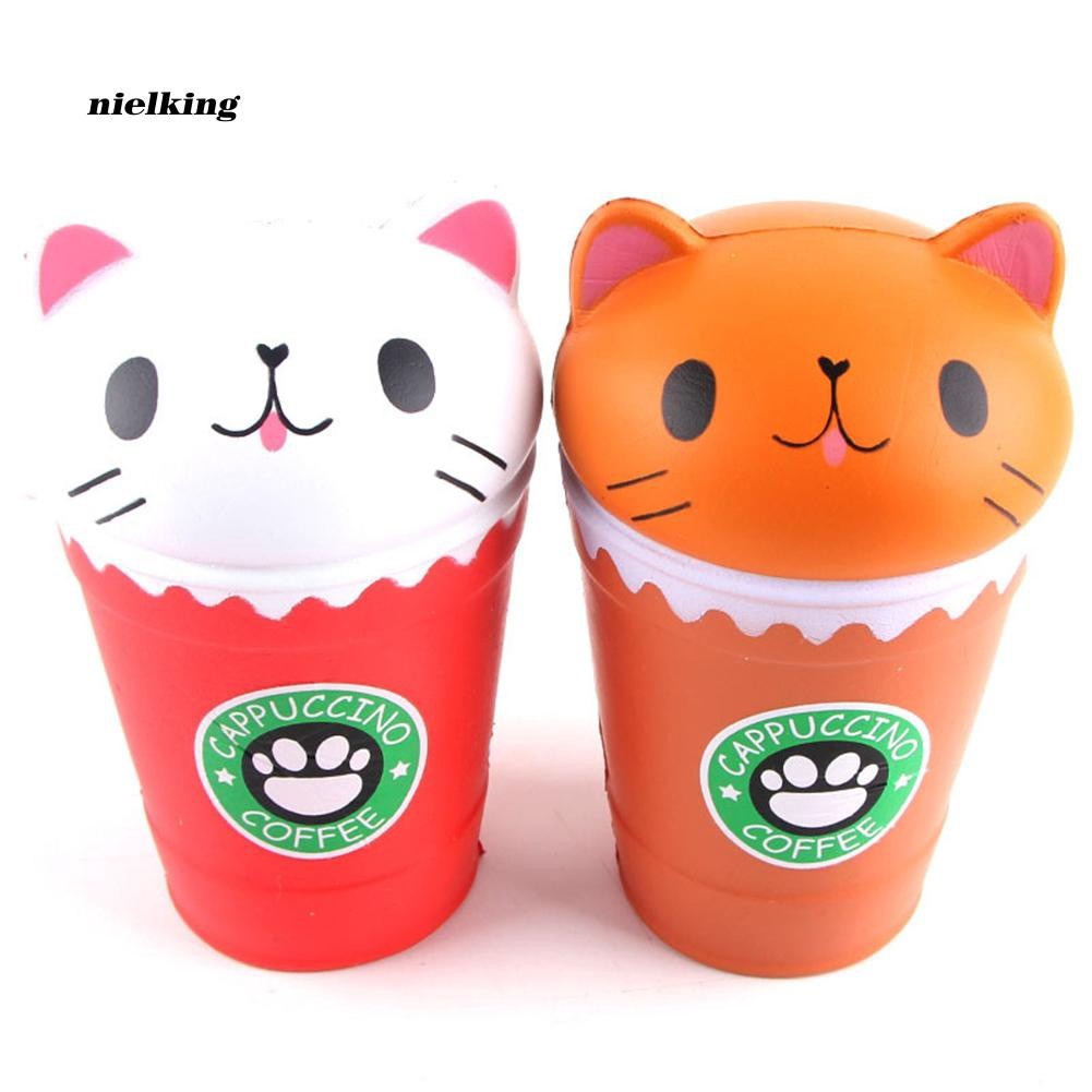 Nlkg♥Squishy Slow Rising Coffee Cup Cat Squeeze Toys Kids Children Stress Reliever