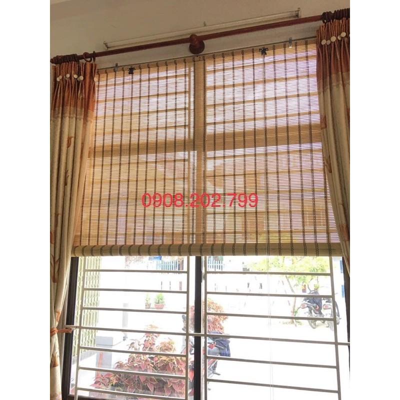 Rèm sáo tre trúc xen tăm chỉ Nâu che nắng cửa sổ có dây kéo [ Ròng rọc thường & Tự Khoá]