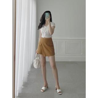 Quần short nữ giả váy đắp tà thời trang GAGO high waist double pocket skort màu vàng bò GO3397 thumbnail