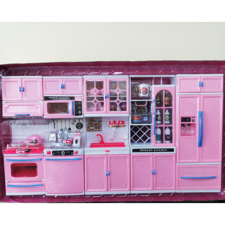 Bộ đồ chơi nhà bếp rất lớn cho bé, kiểu nhà bếp hiện đại 5 khối dùng pin 818-168. hộp...